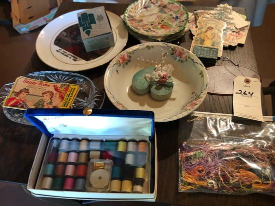 """""""Happy Home"""" needle book, relish tray, Japan dish/platters, and variety of crotchet thread."""