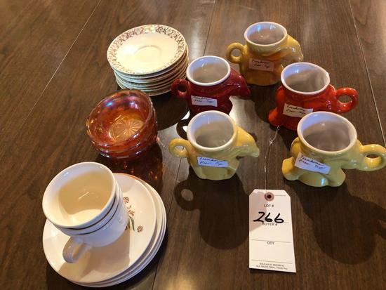 (5) Francoma presidential cups, (3) 1975, (1) 1969, and (1) 1976, Carnival berry bowls, and other