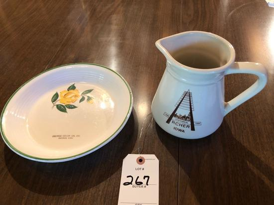 "Archer, IA crock pitcher, and ""George Co-Op Oil Company, George, IA"" yellow rose pie plate."