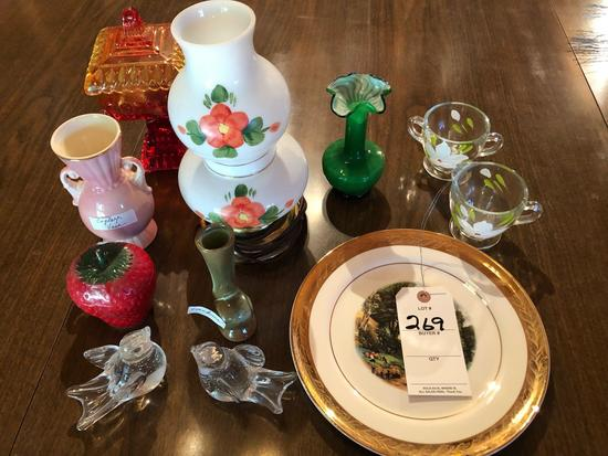 Lidded Carnival candy dish, glass cream/sugars set, electric lantern, other jelly jars and vases.