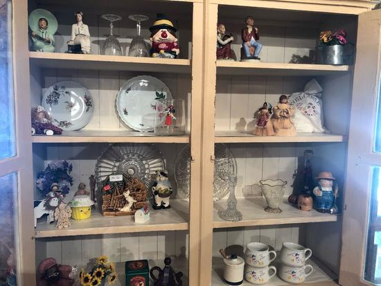 Various planters, tins, candle holders, stemmed glassware, large glass plates, and more!
