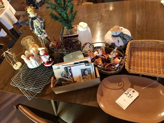 Melmac meat tray, Christmas items, old postcards, and more!