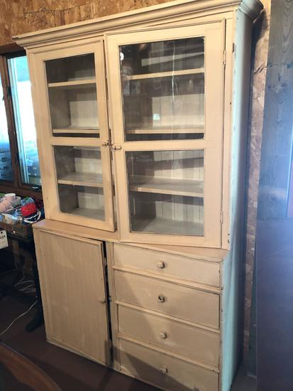 Beautiful, painted, vintage kitchen cupboard (50'' W x 17.5'' D x 80'' H) w/(2) top glass doors,
