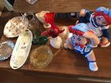 Boy & Girl figurines, Mother of Pearl vase, yellow depression & other fancy dishes, and more!