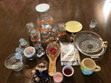 Juice pitcher/glass set, toothpick holders, and other dishes & knick-knacks.