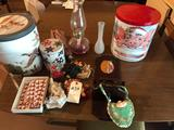 Gas lantern, mirrored wall-shelf, various tins, and more!