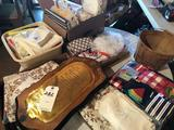 (8) Miniature white feed sacks, tablecloths, many sewing items, handled basket, and more!