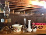 Kerosene lantern, milk-glass items, vase, and more!