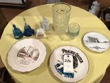 Clear glass thumbprint vase, varied bells, custard dishes, memorabilia plates, and more!