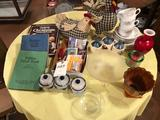 Crafts and Foods book, frosted bowl, and other dishes.