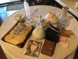 1 qt. Osceola Co. Creamery milk jar, pair of Party Light Enchantment candle holders, vintage photo