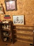 4-shelf wood storage cabinet (24'' W x 10'' D x 42'' H), plus contents of baskets. Also includes