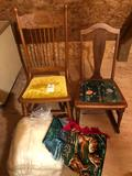 Vintage 7-spoke pressed-back rocking chair, and solid wood cloth-bottom sewing rocker, wall