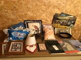 Various old magazines, Plymouth Co. Atlas, picture frames, and pictures w/o frames.