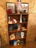 4-shelf wood cabinet (24'' W x 7.5'' D x 49'' H) and contents (pictures, doll, vases, and more)! No