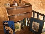Wood 3-shelf unit (48'' W x 12'' D x 48'' H) w/lg. picture frame, octagon mirror, wood baskets, and