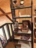 Metal shelving cabinet (25'' W x 16'' D x 65'' H) w/ contents incl. picture frames, vases, and more!