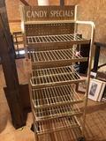 Multi-shelf rolling steel-framed candy display rack - No Shipping!