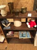 31.5'' W x 12'' D x 39'' H wood shelf, plus contents (brass tins, picture of boy & girl praying, and