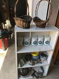 Wood 3-shelf bookcase (24.5'' W x 10'' D x 42'' H), cherry pitter, meat grinder, tins, stainless