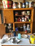 Various tins, bushel basket, coffee & water pitchers, silver creamer, jello molds, and more!