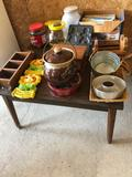 30'' Square end table, jello mold, gingerbread people pan, jars, tins, chalkware, various maps, and