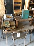 Folding card-table w/(4) chairs, woven foot-stool, wood child's chair, various cookbooks, dishes,