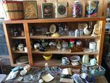 Small 'bushel' basket, glasses, vanity set, vases, tins, and much more!