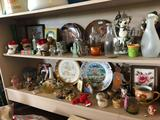 Norman Rockwell dishes, plates, cream/sugar sets, bud vases, bottles, various knick-knacks, and