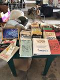 32'' square x 30'' H wood table, box of cookbooks, dish strainer w/various dishes and lids. No