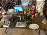 5' Banquet table, misc. dishes, Christmas items, baskets, doll, candle holders, and more!