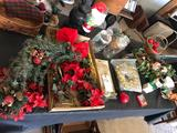 Various Christmas decorations, some wicker items, lamps, candles, and more!