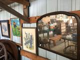 Antique solid wood-framed mirror and various framed pictures. No Shipping!