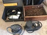 Orbital sander, Black & Decker inflator, box of 16 gauge nails, and electric drill & bits.