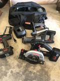 Craftsman tool bag, 19.2v Craftsman cordless saw, reciprocating saw, drill, shoplight, (2)