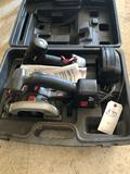 Craftsman hard tool-case, 18v cordless saw & drill w/(2) batteries, and (1) charger, complete ~