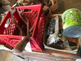 Old antique wrenches, electrical supplies, saw blades, soft ball, and more!