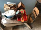 Child's school desk, craft items, and bird house - No Shipping!