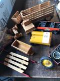 Toy metal flare-wagon, varied wood toys & metal toys, partial erector set, and more.