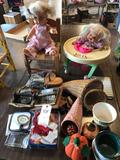 Doll & chair, doll stroller, tins, and more!