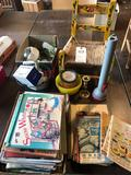 Childs chair w/woven seat/wood frame, books, baskets, and more!