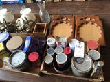 Varied Calumet & other tins, Karo syrup can, Hobnail swag lamps, several matching wood picture