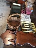 Wood sconce, wood wall hanger, silverware, lamp shades, and more!