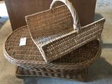 Wicker end table (39'' W x 25'' D x 16'' H), and lg. wicker magazine basket. No Shipping!