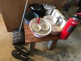 Homemade table (25.5'' W x 27'' D x 20'' H), plus red & white graniteware, meat slicer, fire