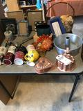 Card table, misc. cookware, jello molds, wicker basket, cups, and more!