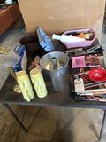 Card table, angel food cake pan, Panasonic telephone, kitchen utensils, and more!