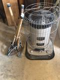 Comfort Glow kerosene heater and metal table legs.