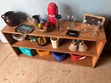 Wood bookshelf (48'' W x 12'' D x 23'' H) plus contents to incl. bean pot, plastic baskets, and