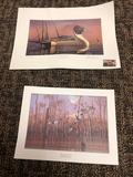 2 Prints and Oak frame with glass